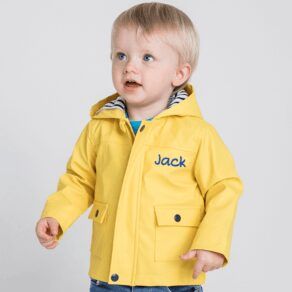 Personalised Baby and Toddler Yellow Raincoat