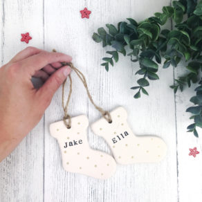 Personalised Christmas Ceramic Stocking Bauble