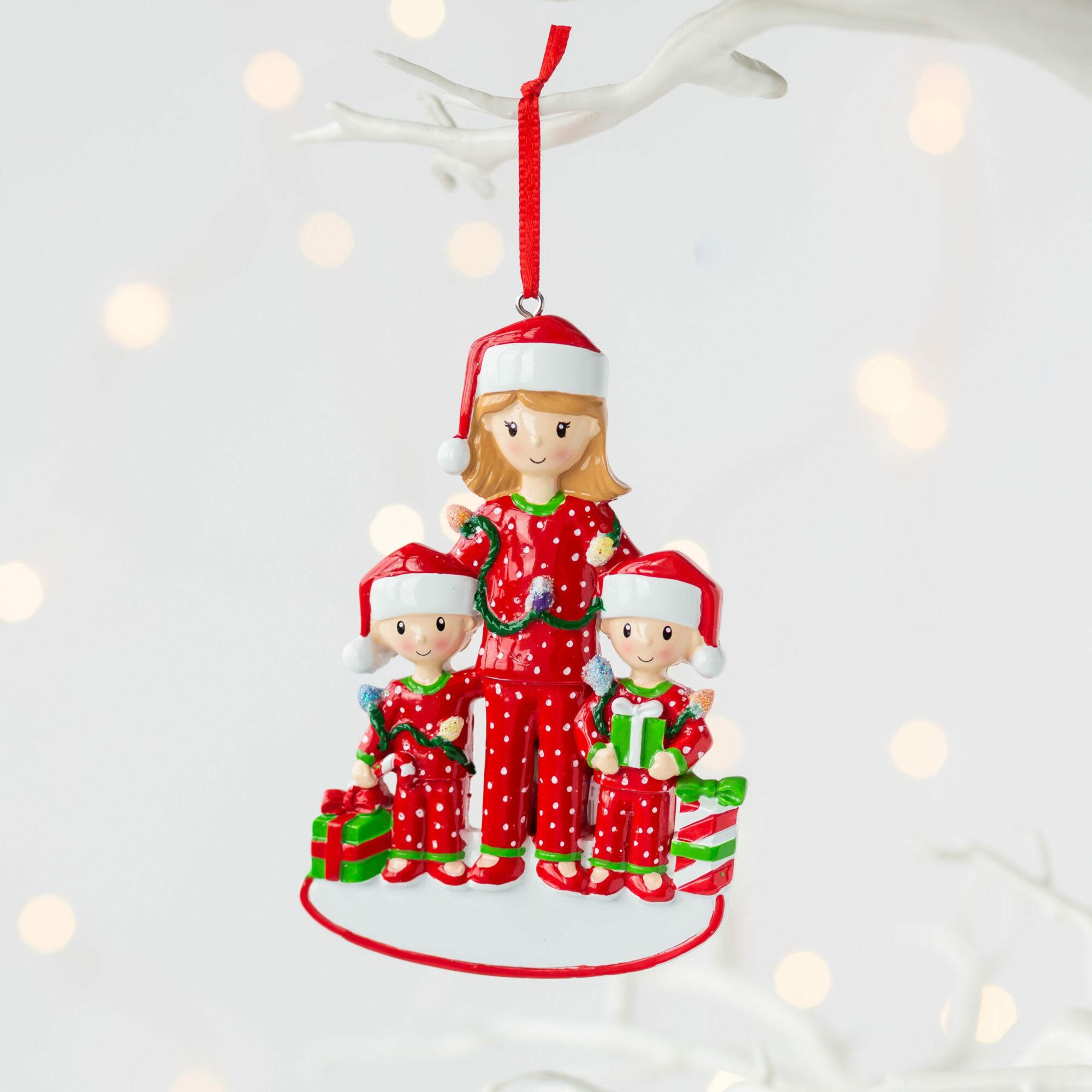 Personalised Single Mum & Children Christmas Decoration