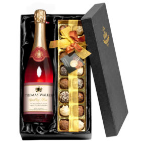 Personalised Sparkling Rosé Wine & Chocolates Gift Set