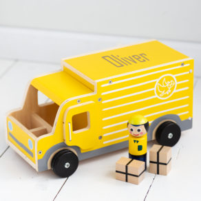 Personalised Kids Wooden Delivery Lorry Toy Set