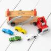 Personalised Kids Wooden Car Transporter Toy Set