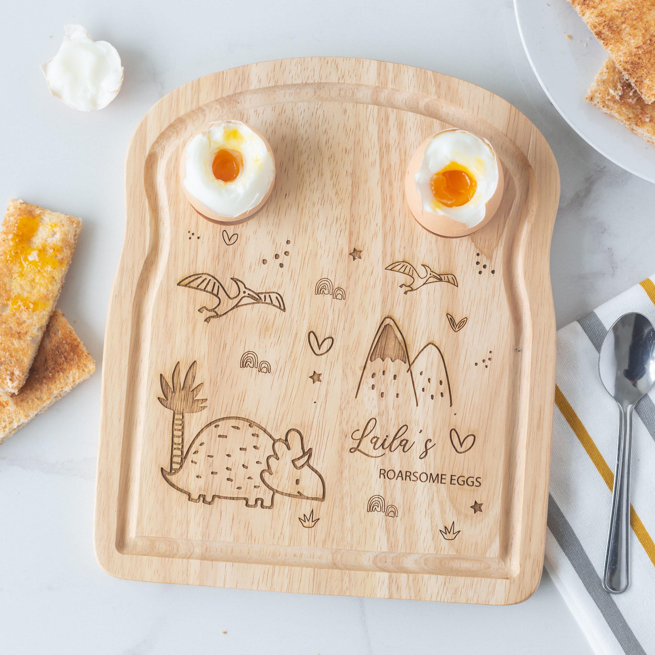 Personalised Triceratops Dinosaur Breakfast Egg Board
