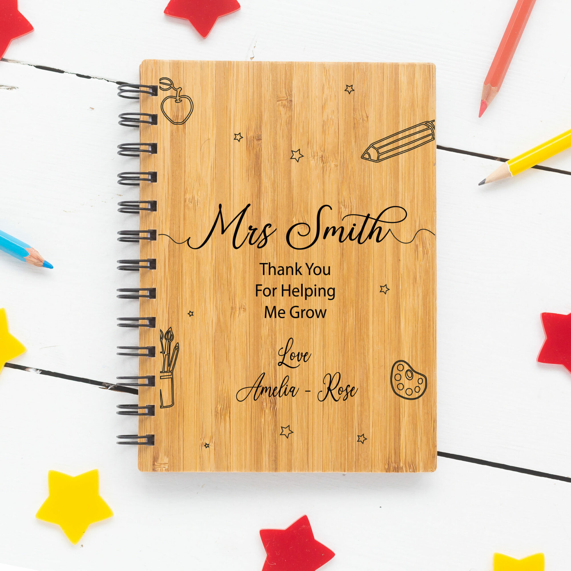 Personalised A5 Bamboo Teacher Notebook