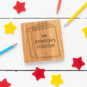 Personalised Oak Teacher Coaster - Book Design