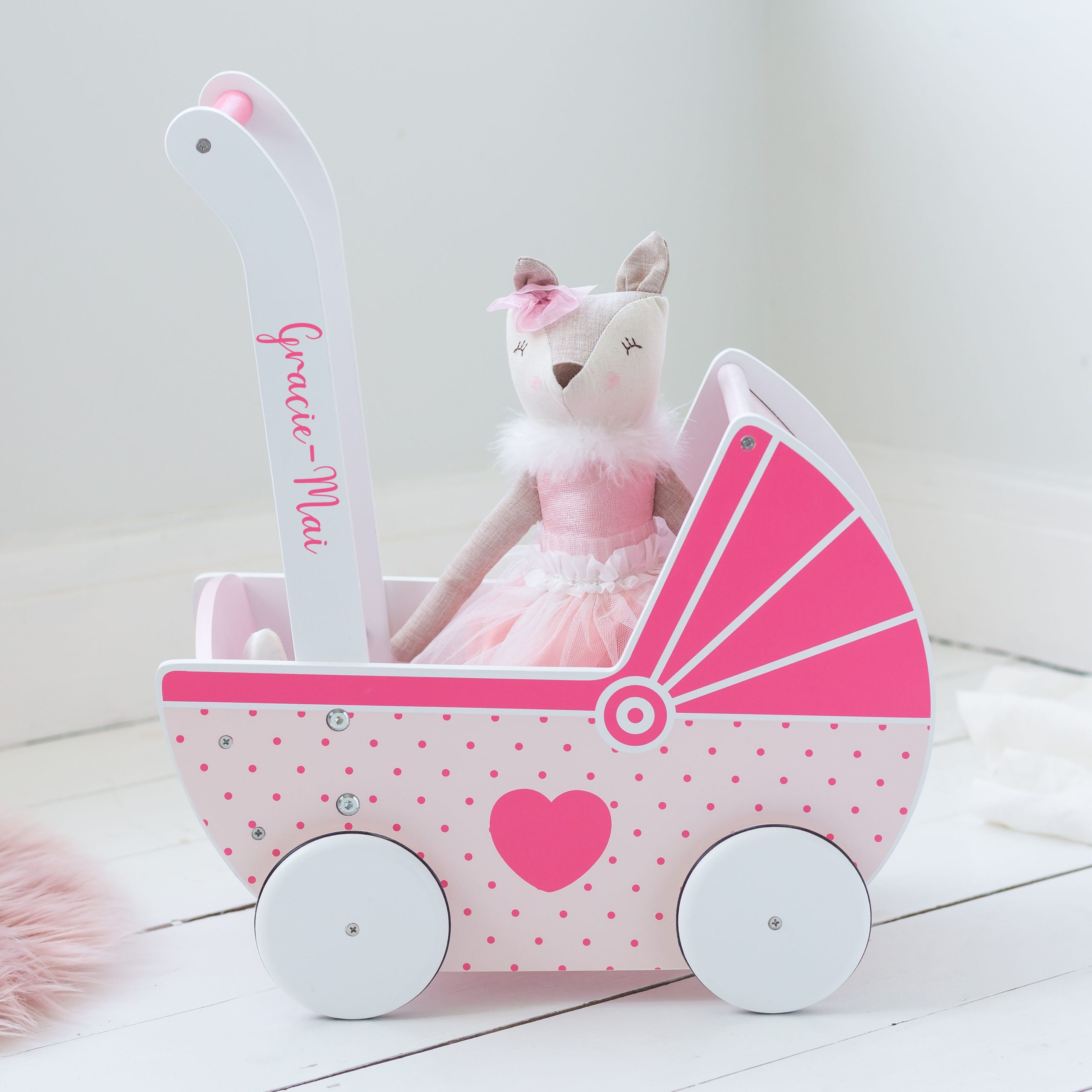 Personalised Wooden Push Along Pink & White Toy Pram