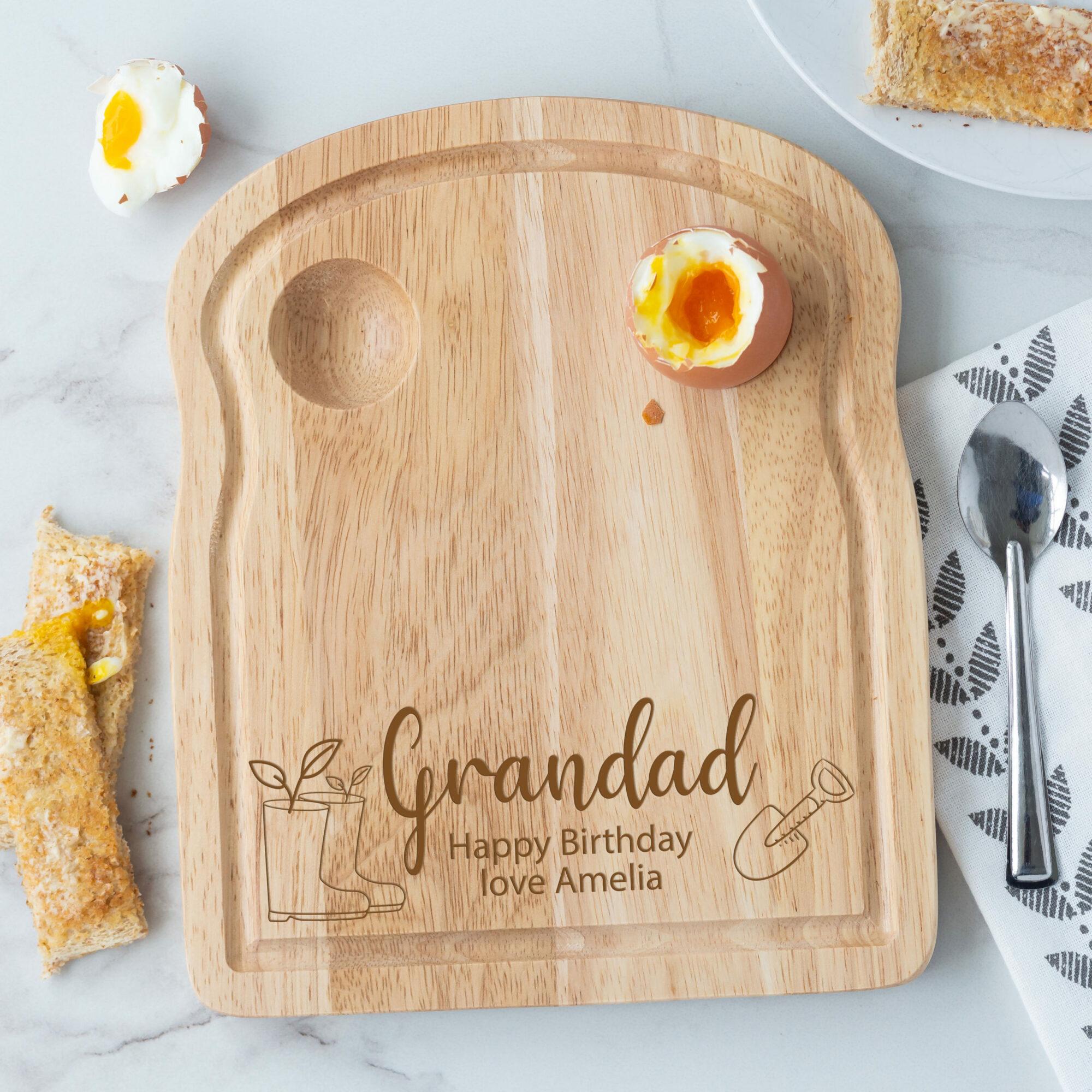 Personalised Wooden Gardening Breakfast Egg Board - Spade