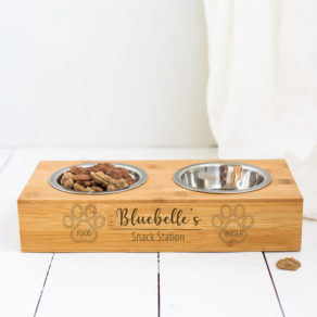 Personalised Double Paw Print Bamboo Pet Bowl