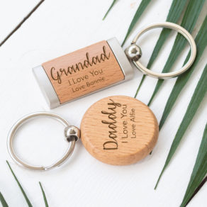 Personalised Round or Rectangle Wooden Keyring