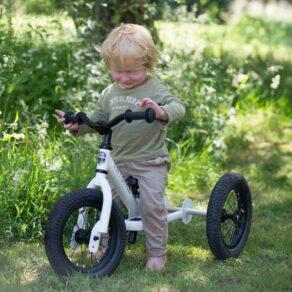 Personalised Kids Steel White 2 in 1 Balance Trybike