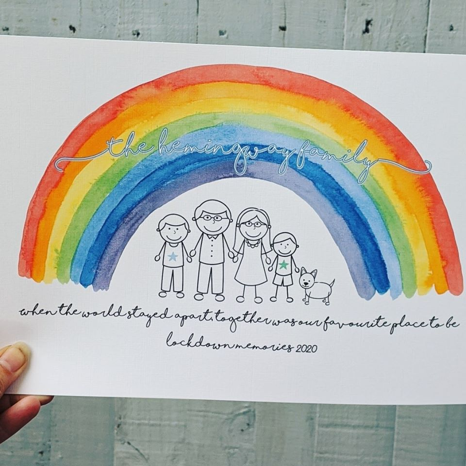 Friends Kids Personalised Rainbow Lockdown 2020 Gifts Couples Lockdown Family Couples Print Gifts Together Was Our Favourite Place To Be Wall Art Print Lockdown Gifts for Family ANY NAMES