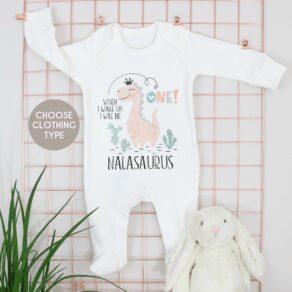Personalised Girls Dino Birthday Eve Babygrow