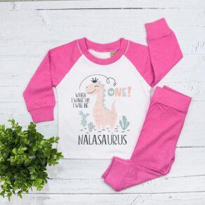 Personalised Girls Dinosaur Birthday Eve Pyjamas