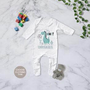 Personalised Boys Dino Birthday Eve Babygrow