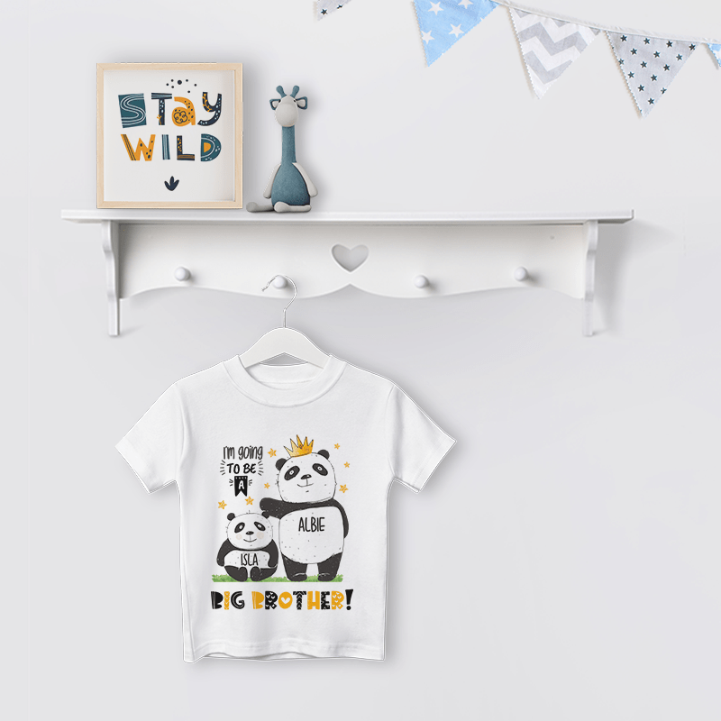 Personalised Big Brother to Be Panda T Shirt