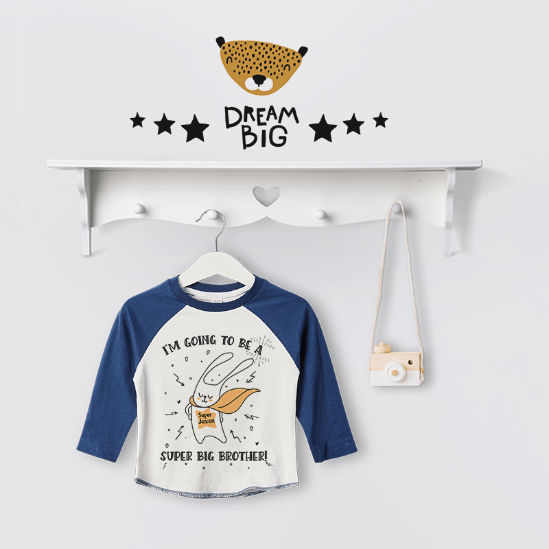 Personalised Super Big Brother to be Baseball Tee