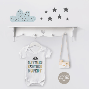 Personalised Little Brother Rainbow Babygrow / T Shirt