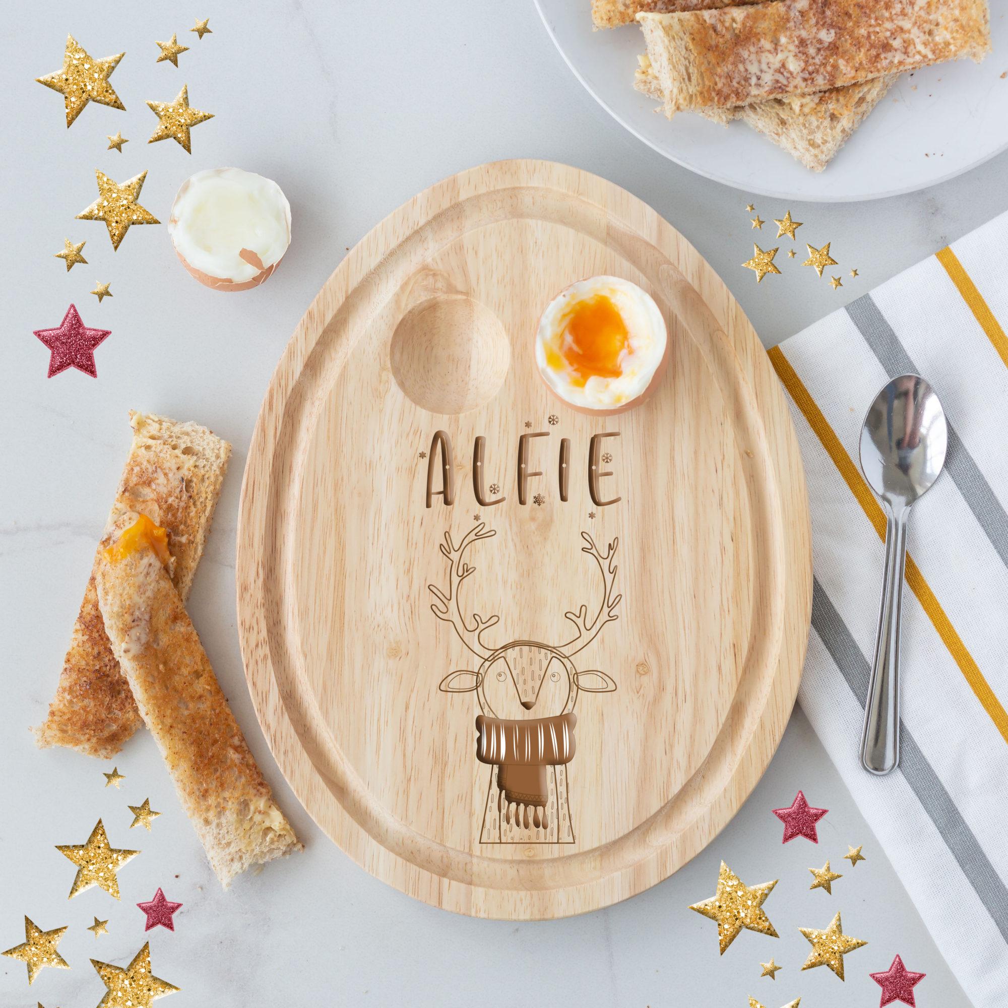 Personalised Christmas Reindeer Egg Board