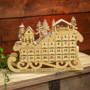 Personalised Wooden Sleigh LED Advent Calendar
