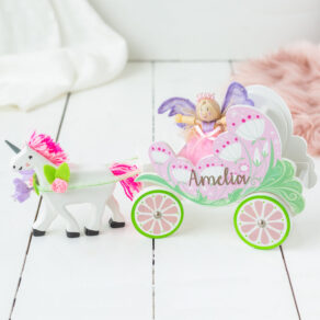 Personalised Wooden Unicorn & Carriage with Fairy Toy