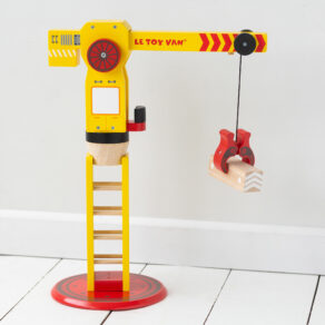 Personalised Wooden Yellow & Red Toy Crane
