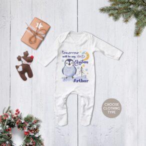 Personalised Christmas Eve Penguin Babygrow