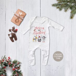 Personalised First Christmas Themed Babygrow