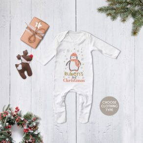 Personalised First Christmas Snowy Penguin Babygrow