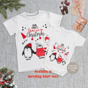 Personalised Matching Our First Family Christmas T Shirt / Babygrow