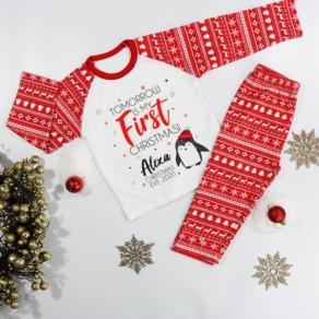 Personalised 'Tomorrow Is My First Christmas' Penguin Pyjamas