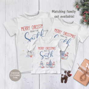 Personalised Matching Merry Christmas Snowman Family T Shirt / Babygrow