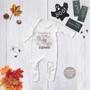 Personalised Cute Bat First Halloween Babygrow / T Shirt
