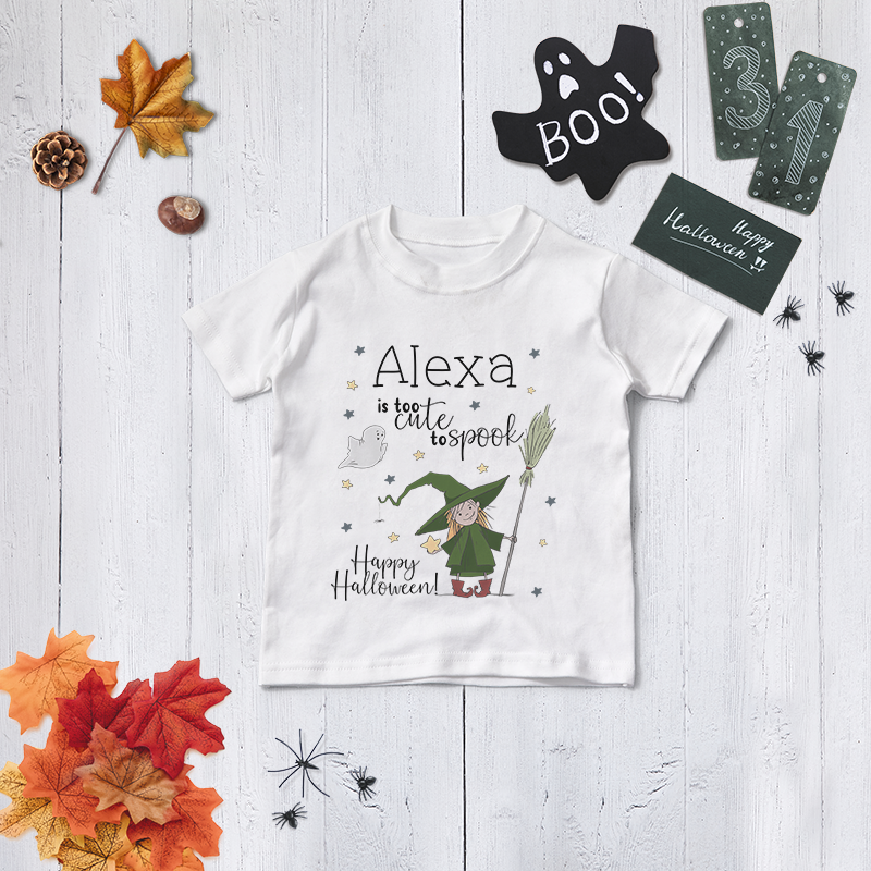 Personalised Cute Witch Halloween T Shirt