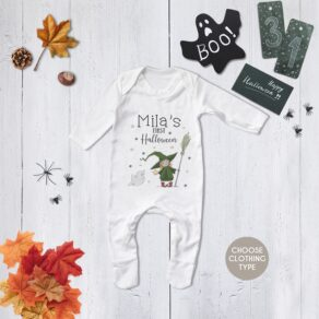 Personalised My First Halloween Cute Witch and Ghost Babygrow/ T Shirt
