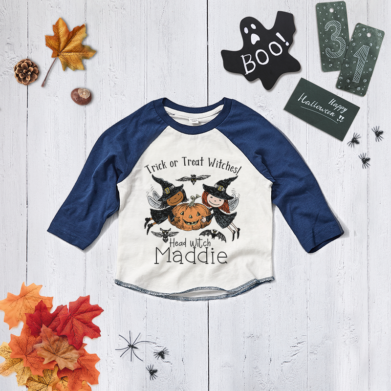 Personalised Trick or Treat Halloween Witch Baseball Tee
