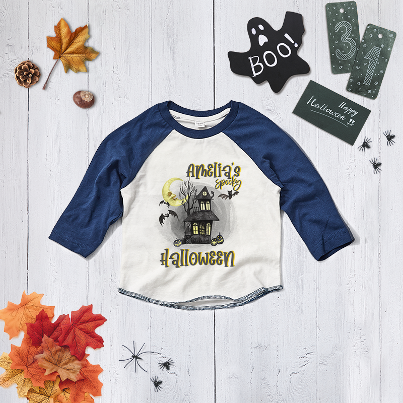 Personalised Spooky Halloween Baseball Tee