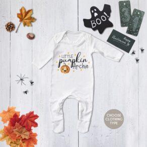 Personalised Cute Little Pumpkin Halloween Babygrow/ T Shirt