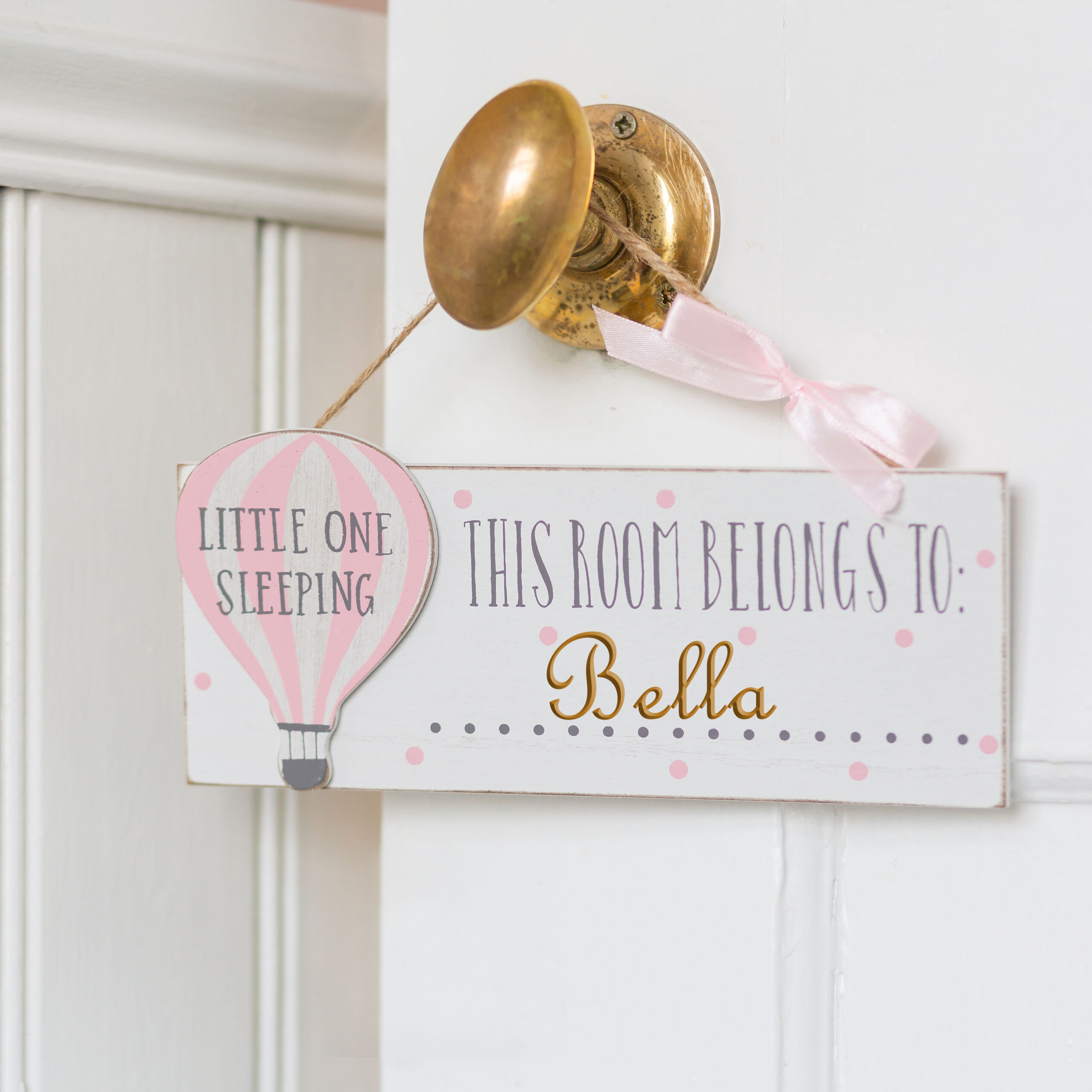 Personalised Wooden Pink Hot Air Balloon Room Plaque