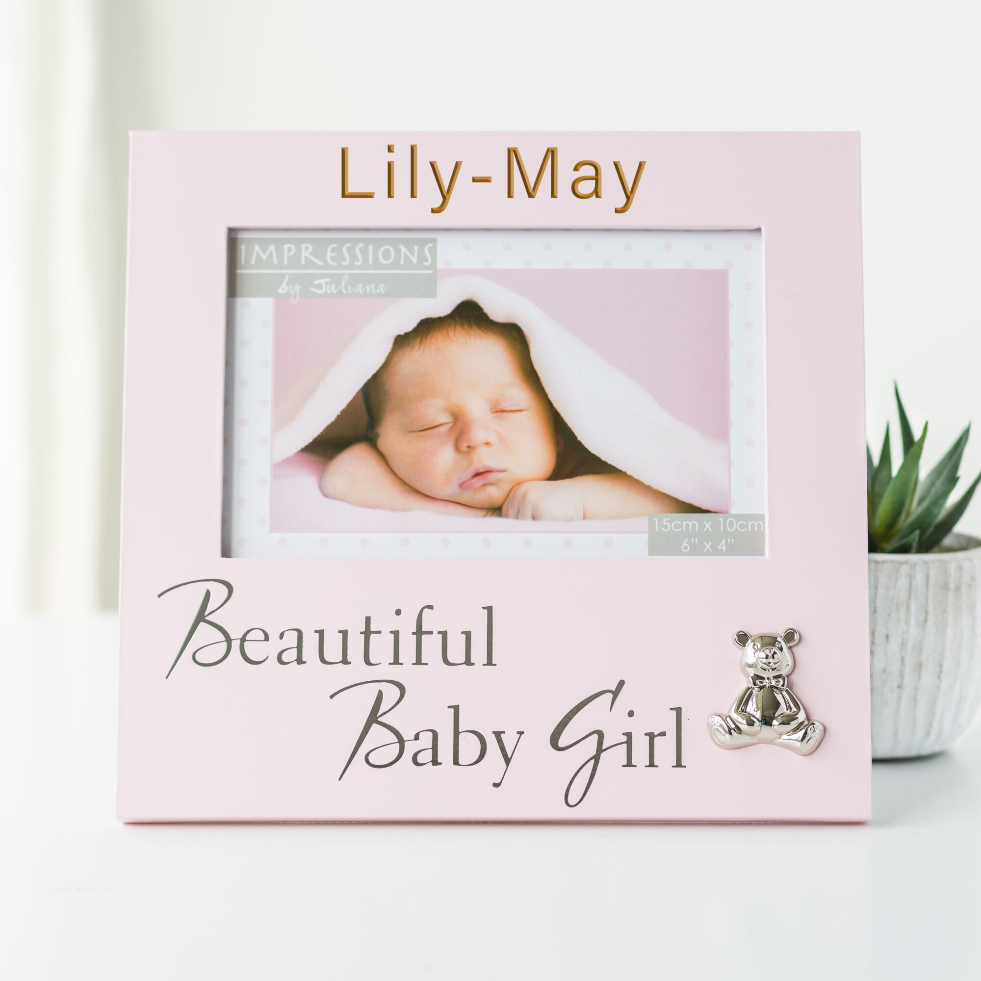 Personalised Baby Pink Frame with Textured Silver Bear