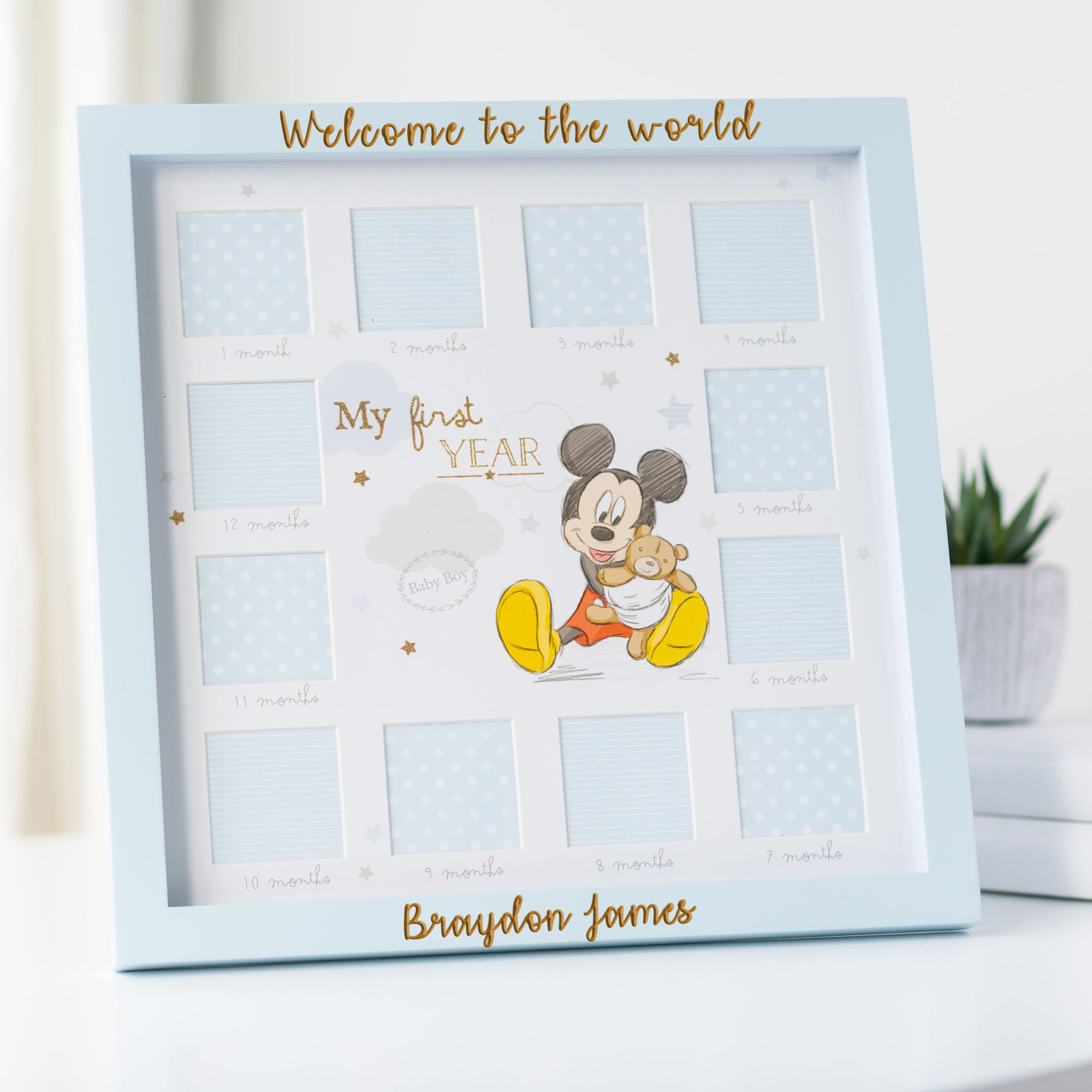 Personalised Disney Mickey Mouse My First Year Frame