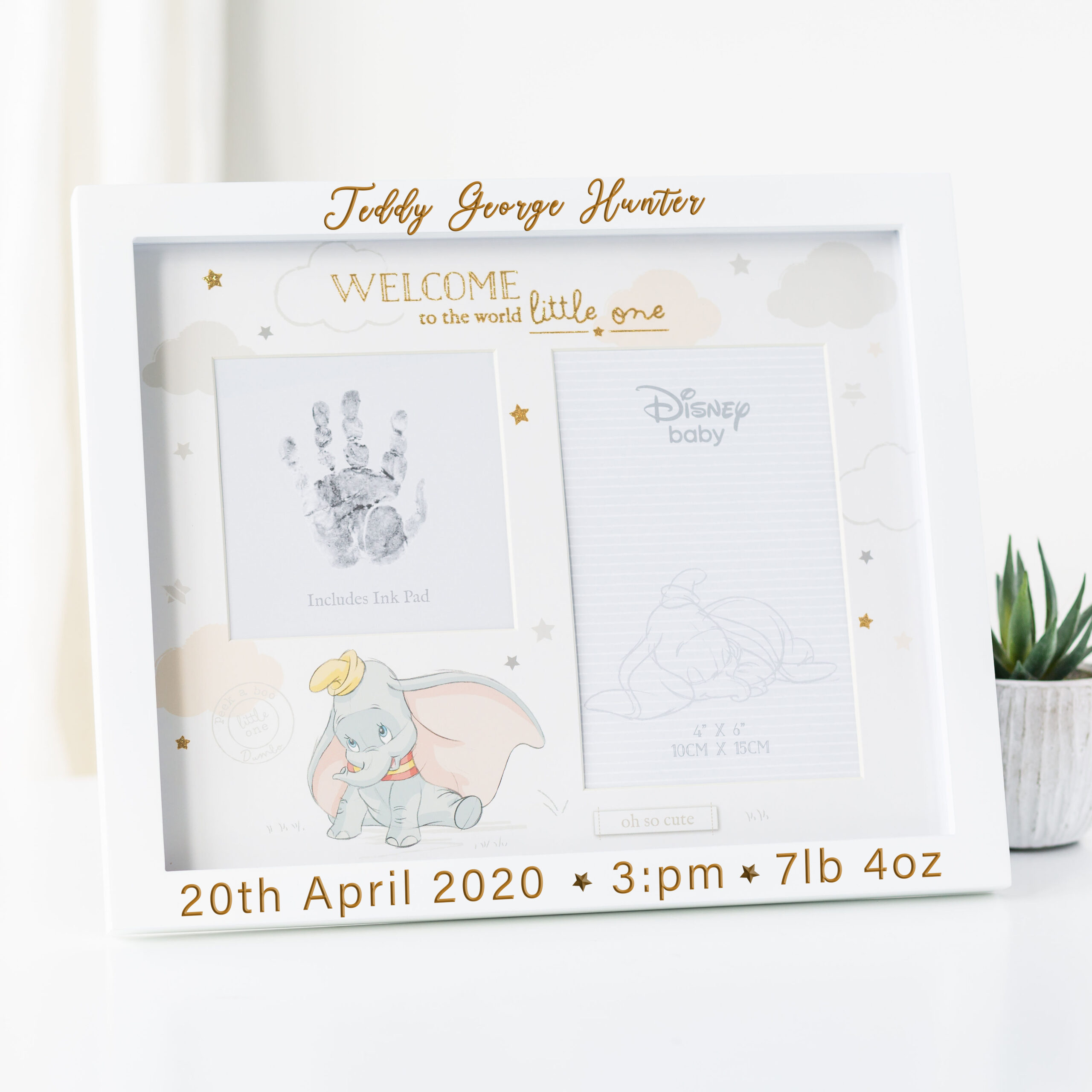 Personalised Disney Dumbo Magical Beginnings Photo & Hand Print Frame