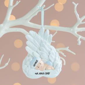 Personalised Angel Baby Boy Christmas Decoration