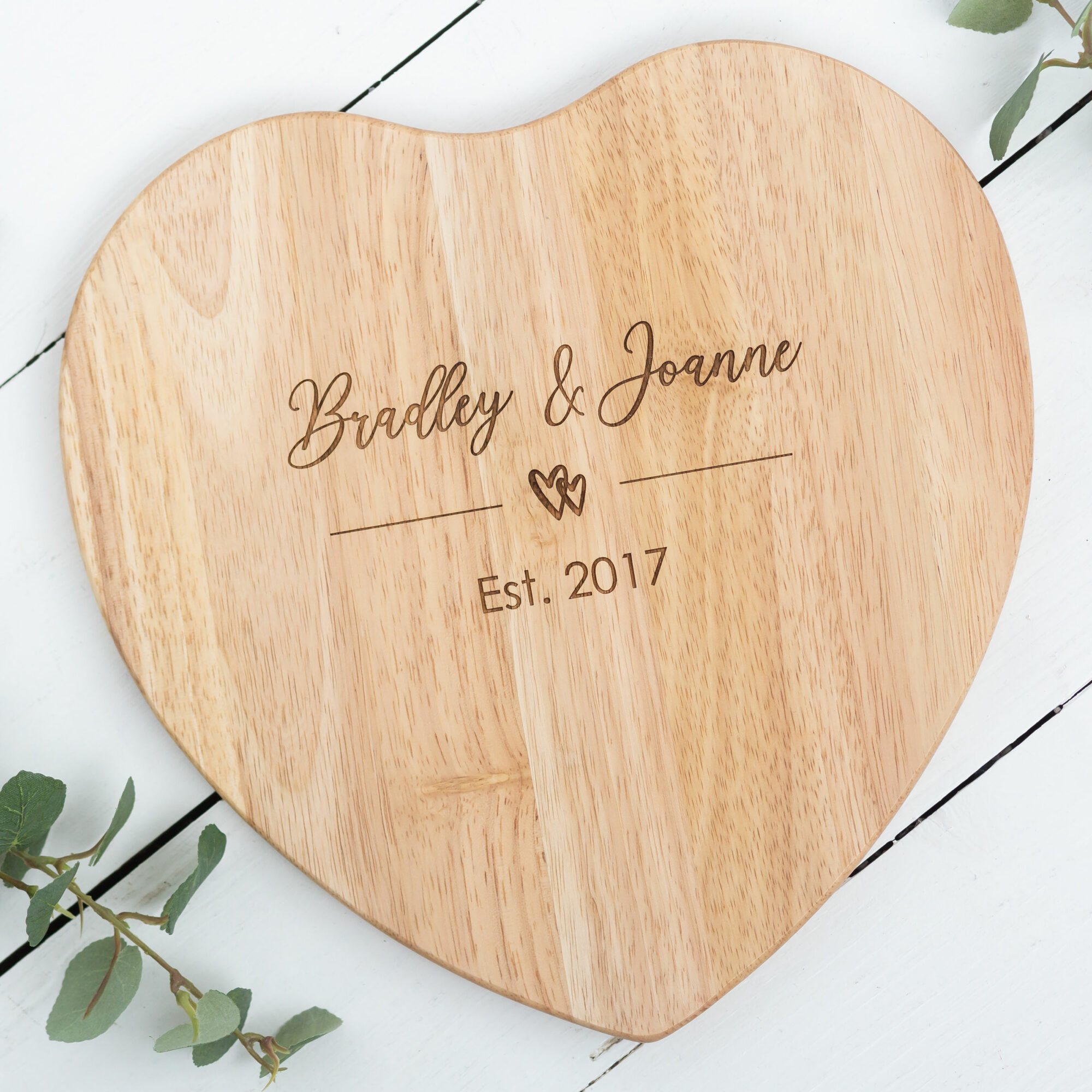 Personalised Couple's Heart Chopping Board