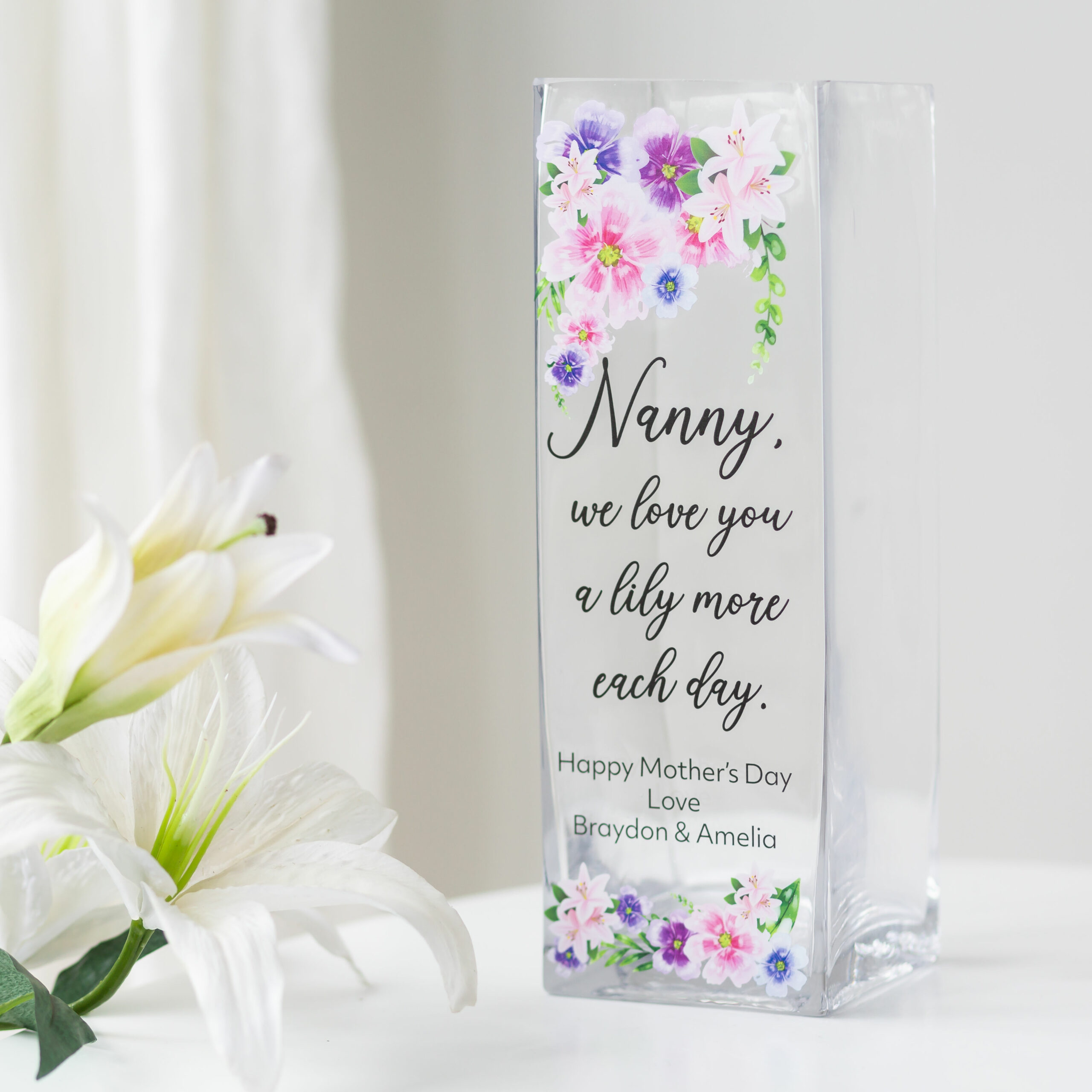 Personalised Purple Lily More Glass Vase