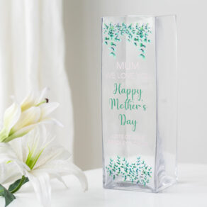 Personalised Mother's Day Greenery Glass Vase