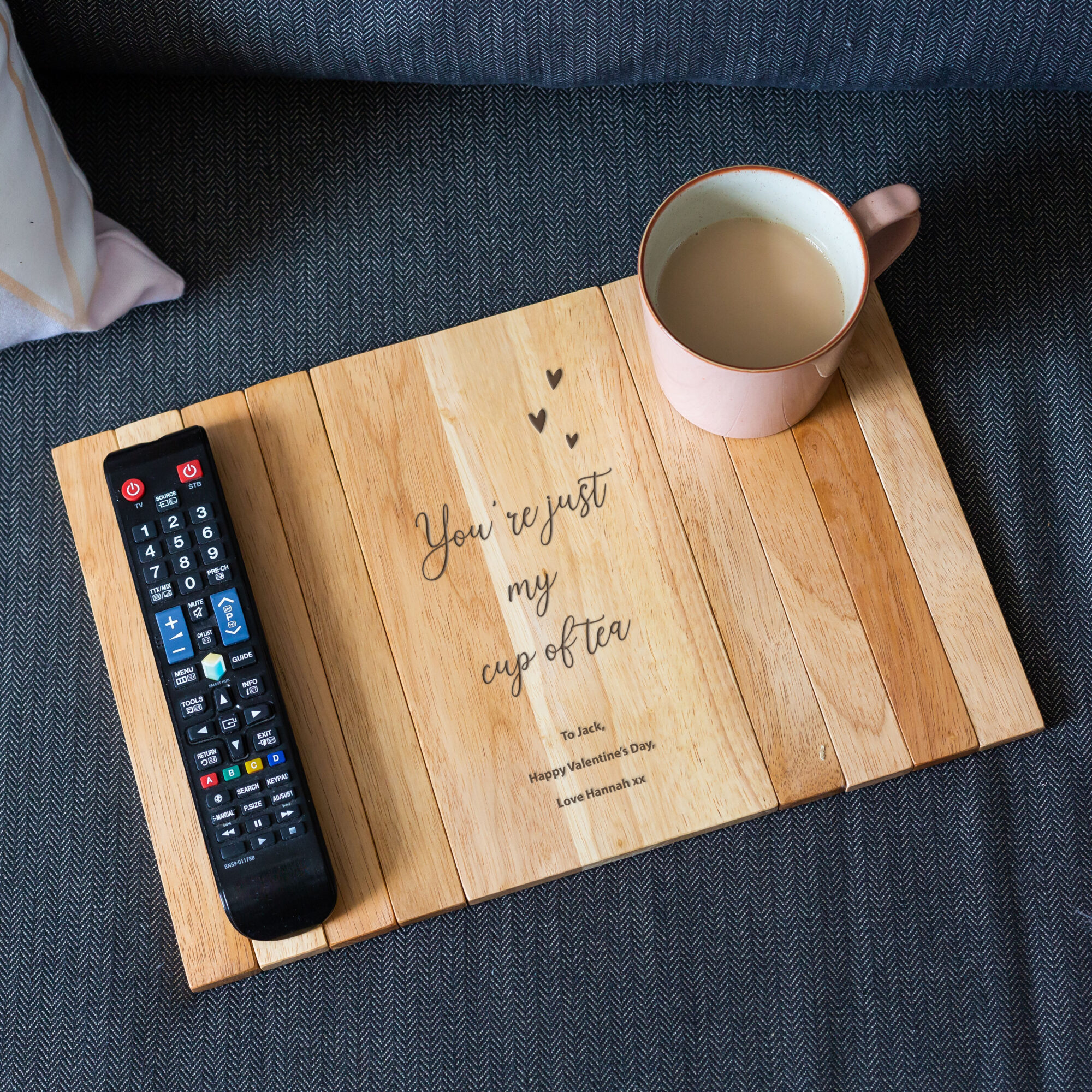 Personalised Valentines Wooden Engraved Arm Rest Tray