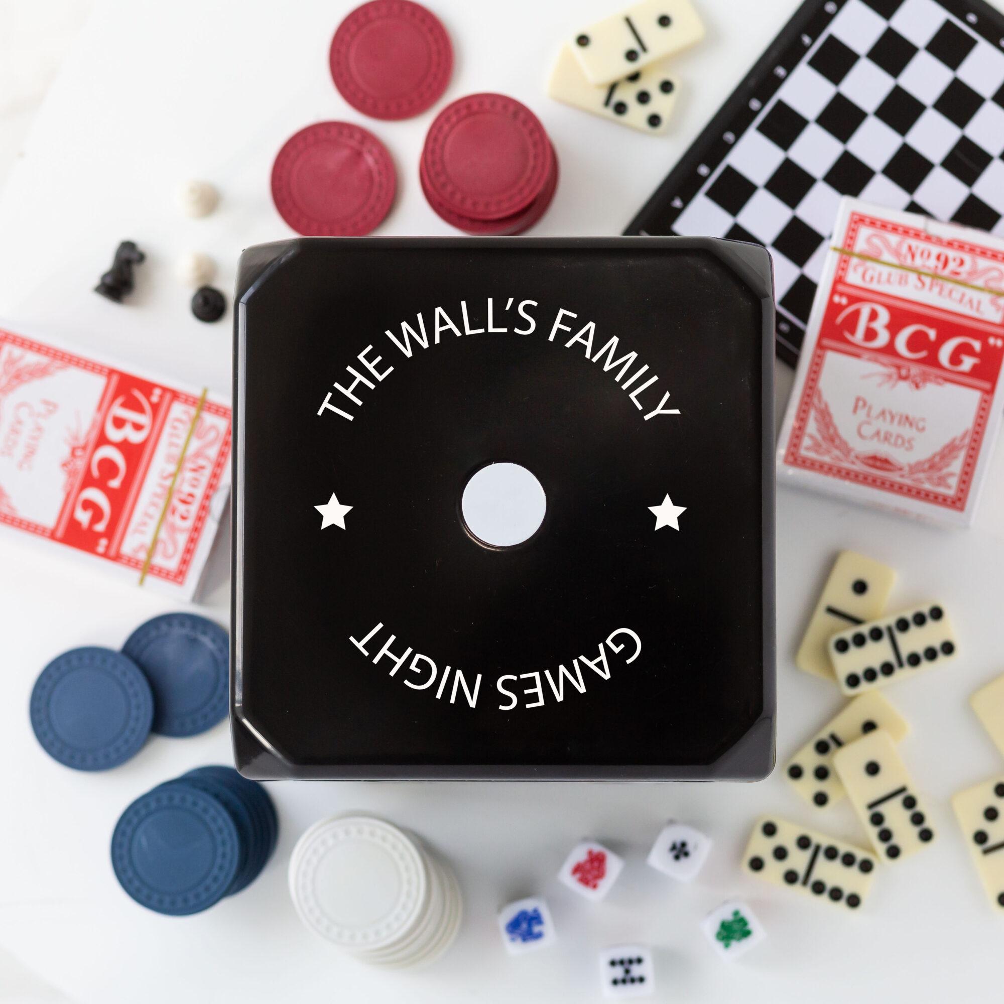 Personalised Black Dice Board 6 in 1 Game Set