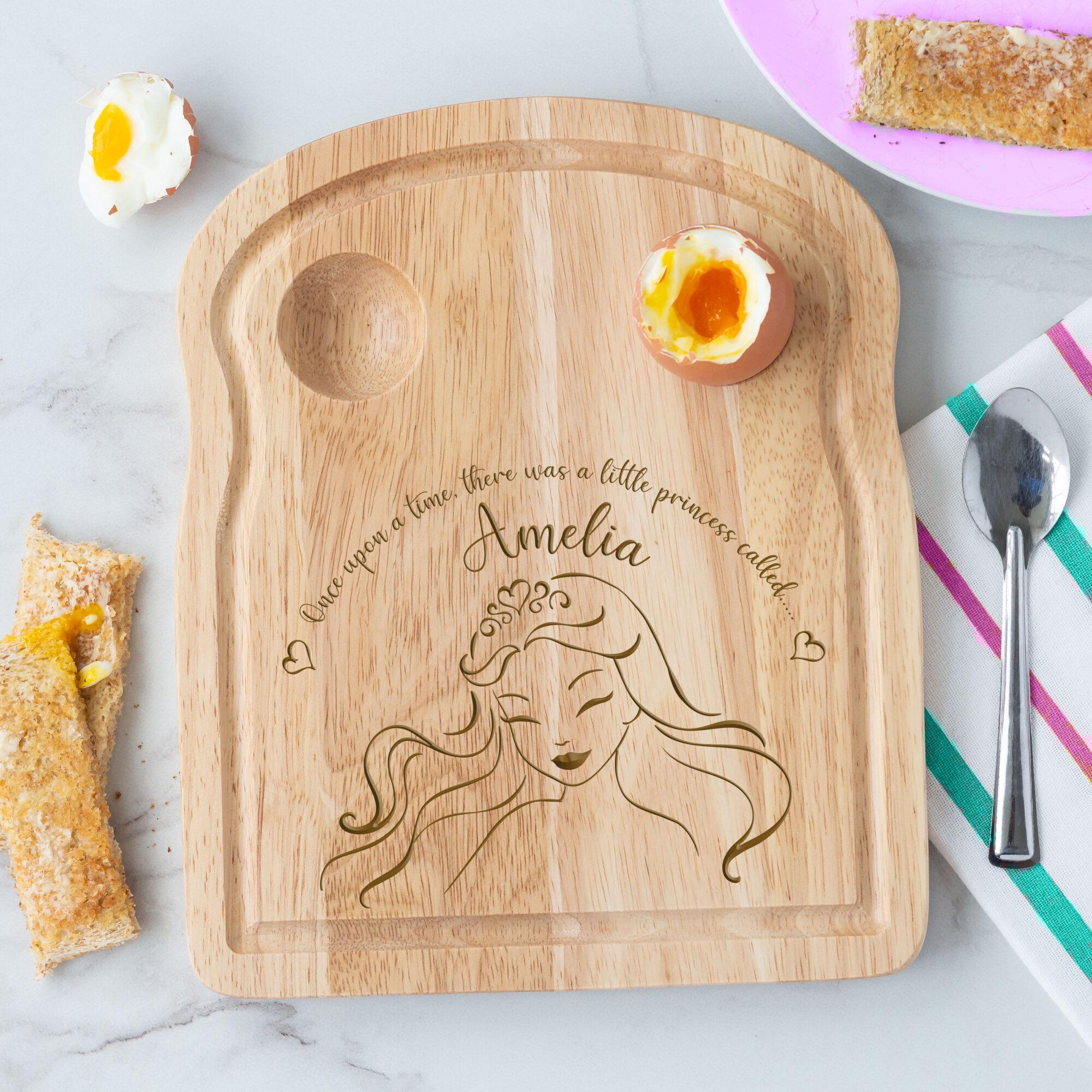 Personalised Wooden Princess Breakfast Egg Board
