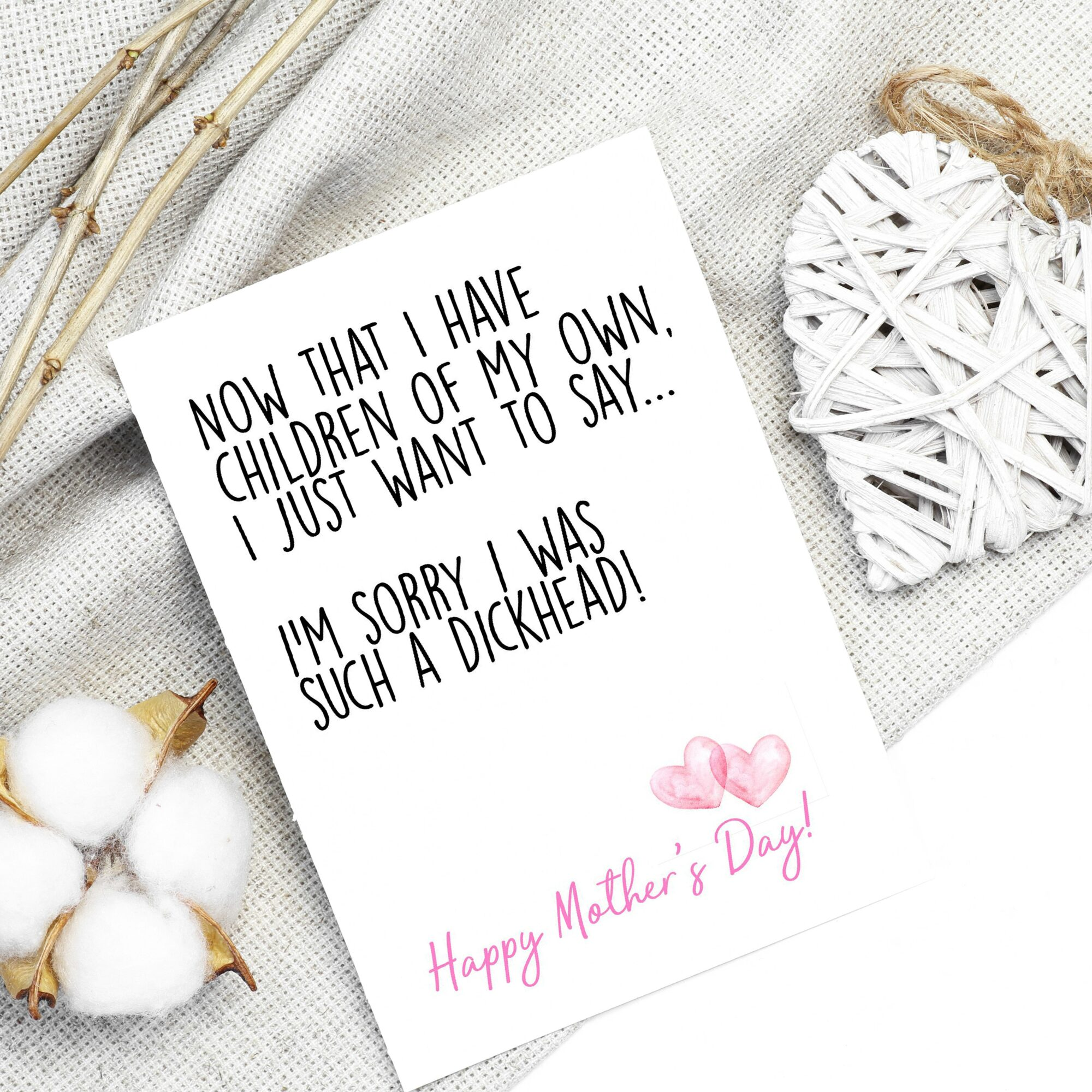 Personalised Sorry For Being A D*ckhead Mother's Day Card