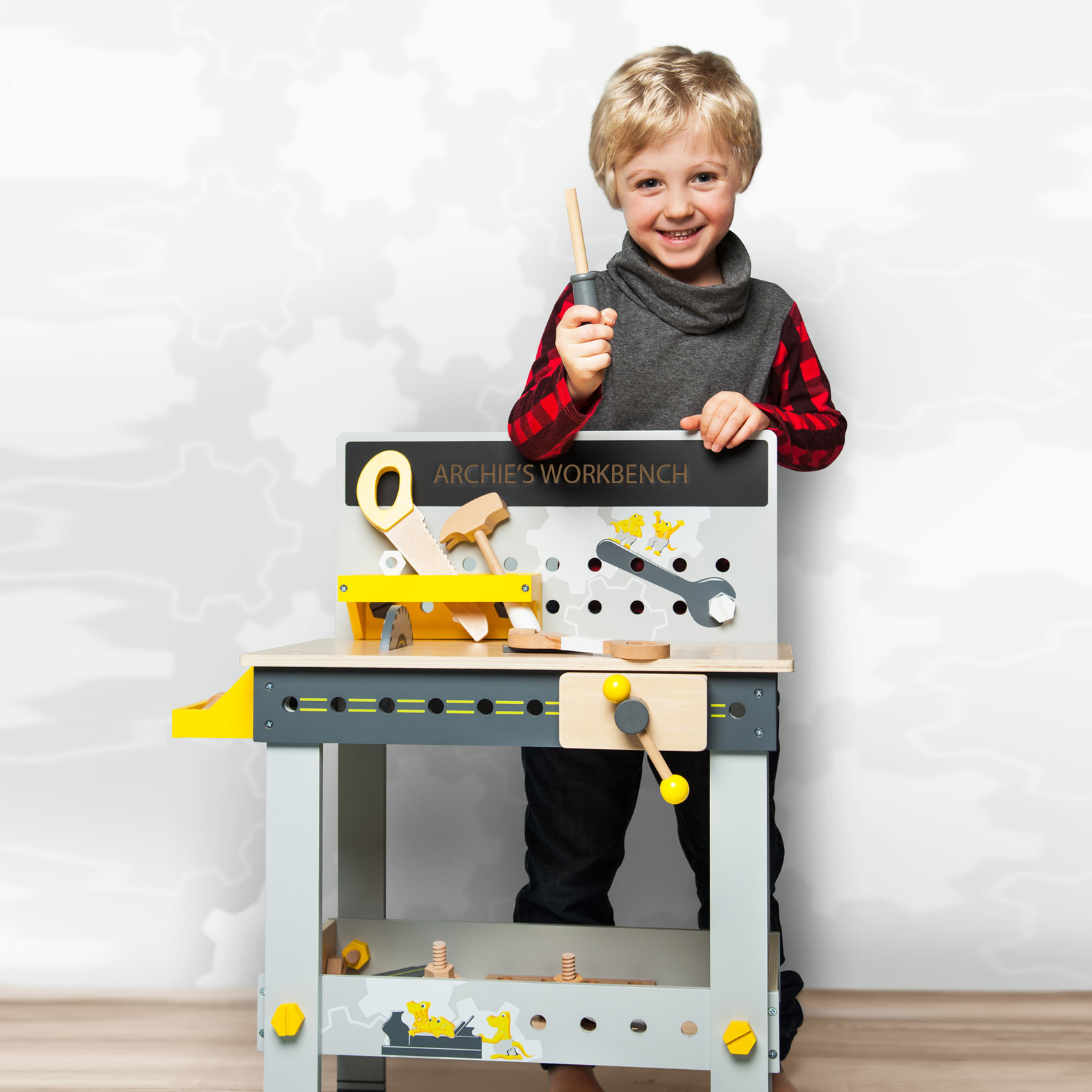 Personalised Kids Wooden Miniwob Toy Workbench